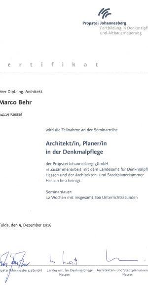Zertifikat Architekt in der Denkmalpflege
